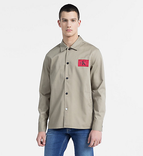 CALVIN KLEIN JEANS Cotton Blend Twill Shirt Jacket - CORIANDER - CALVIN KLEIN JEANS CLOTHES - main image