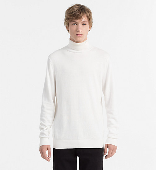 CALVIN KLEIN JEANS Cotton Cashmere Turtleneck Sweater - BRIGHT WHITE - CALVIN KLEIN JEANS KNITWEAR - main image