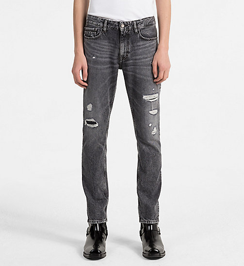 CALVIN KLEIN JEANS Slim Straight Jeans - J DIVISION BLACK DESTRUCTED RGD - CALVIN KLEIN JEANS NEW IN - main image