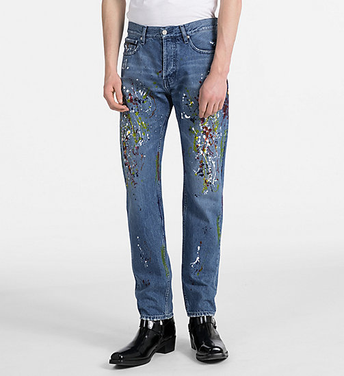 CALVIN KLEIN JEANS Iconic Slim Paint Splatter Jeans - STERLING BLUE -  #MYCALVINS MEN - main image