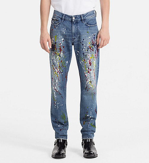 CALVIN KLEIN JEANS Slim Straight Paint Splatter Jeans - STERLING BLUE - CALVIN KLEIN JEANS CLOTHES - main image