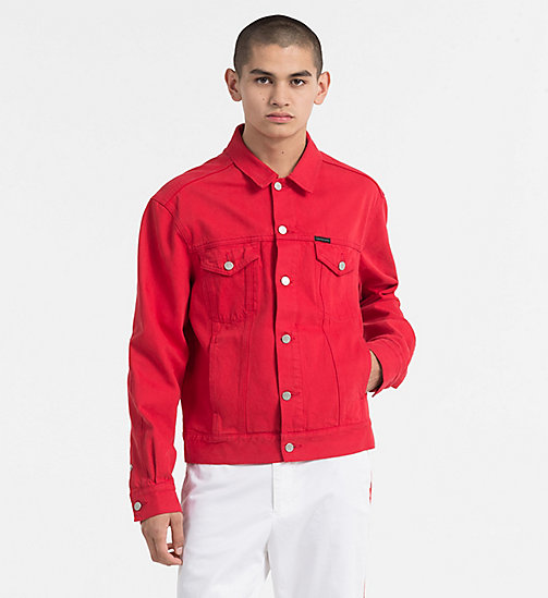 CALVIN KLEIN JEANS Denim Trucker Jacket - TANGO RED RDG - CALVIN KLEIN JEANS TRUE COLOURS - main image