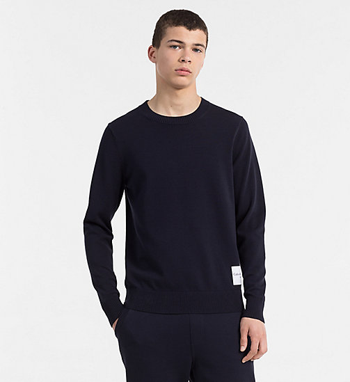 CALVIN KLEIN JEANS Slim Cotton Blend Jumper - NIGHT SKY - CALVIN KLEIN JEANS CLOTHES - main image