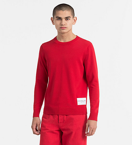 CALVIN KLEIN JEANS Slim Cotton Blend Jumper - TANGO RED - CALVIN KLEIN JEANS TRUE COLOURS - main image