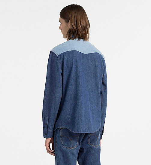 CALVIN KLEIN JEANS Two-Tone Western Denim Shirt - DISORDER BLUE BLOCKED - CALVIN KLEIN JEANS #MYCALVINS MEN - detail image 1