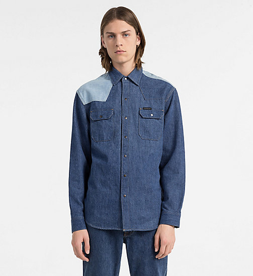 CALVIN KLEIN JEANS Two-Tone Western Denim Shirt - DISORDER BLUE BLOCKED - CALVIN KLEIN JEANS #MYCALVINS MEN - main image