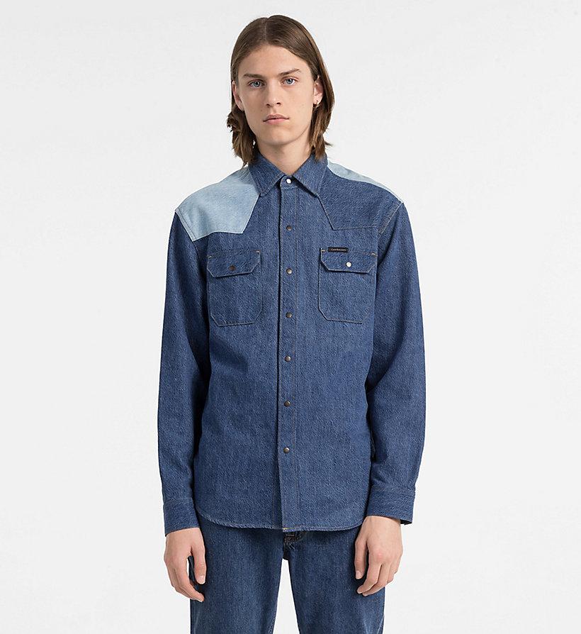 Hombre Camisa Denim Western De Dos Tonos Disorder Blue Blocked Xxl,xl,l,s,m Calvin Klein