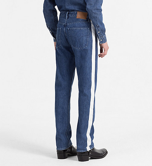 CALVIN KLEIN JEANS High Straight Taped Jeans - DARK BLUE/WHITE - CALVIN KLEIN JEANS NEW IN - detail image 1
