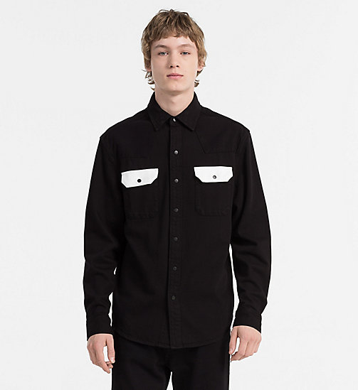 CALVIN KLEIN JEANS Contrast-Trimmed Western Shirt - BLACK/WHITE - CALVIN KLEIN JEANS #MYCALVINS MEN - main image