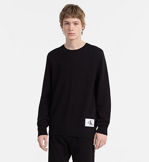CALVIN KLEIN JEANS Regular Cotton Sweater - CK BLACK - CALVIN KLEIN JEANS NEW IN - main image