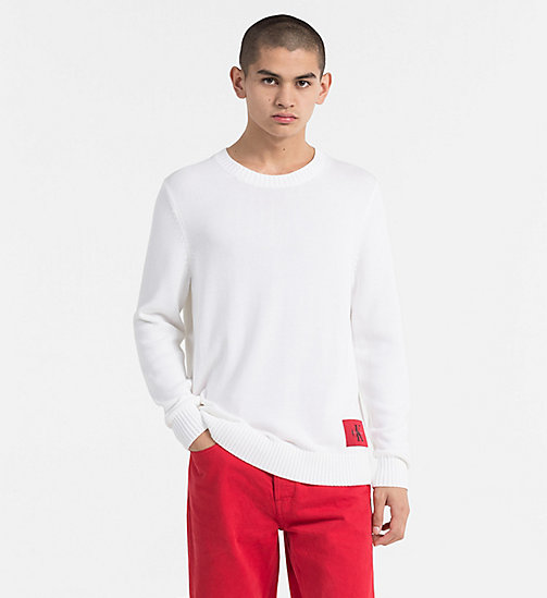 CALVIN KLEIN JEANS Regular Cotton Sweater - BRIGHT WHITE - CALVIN KLEIN JEANS NEW IN - main image