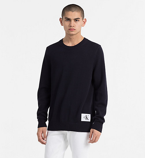 CALVIN KLEIN JEANS Regular Cotton Sweater - NIGHT SKY - CALVIN KLEIN JEANS NEW IN - main image