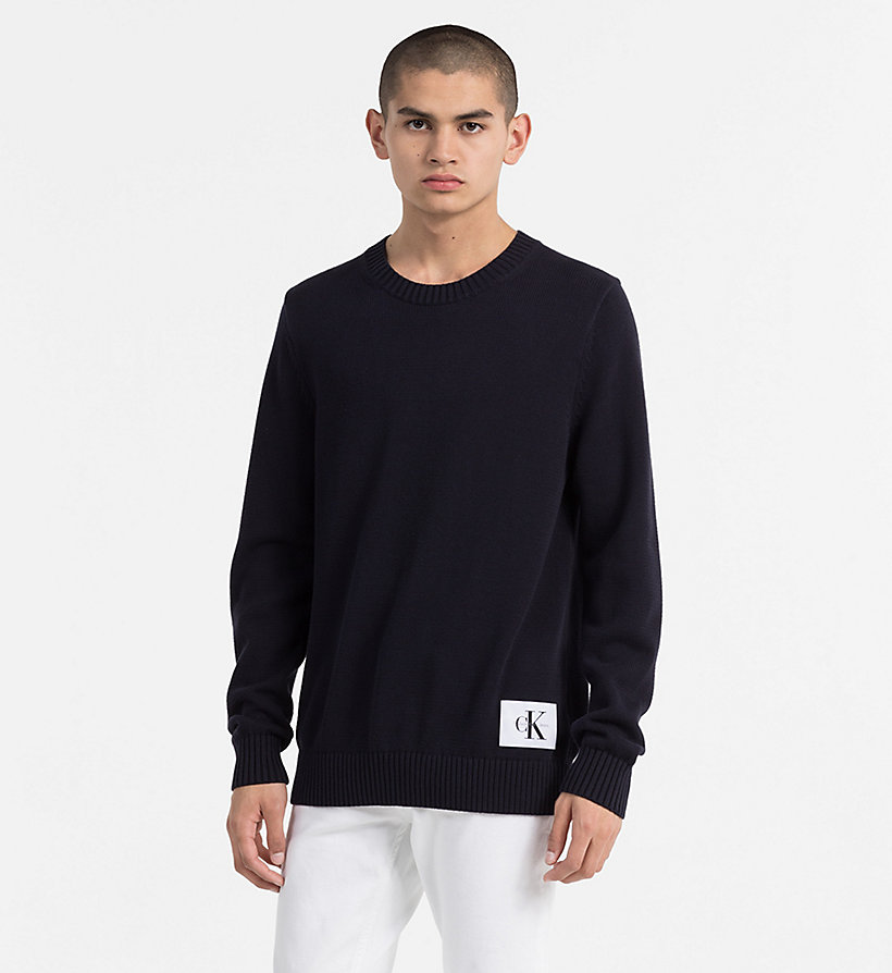 CALVIN KLEIN JEANS Regular Cotton Jumper - CK BLACK - CALVIN KLEIN JEANS MEN - main image