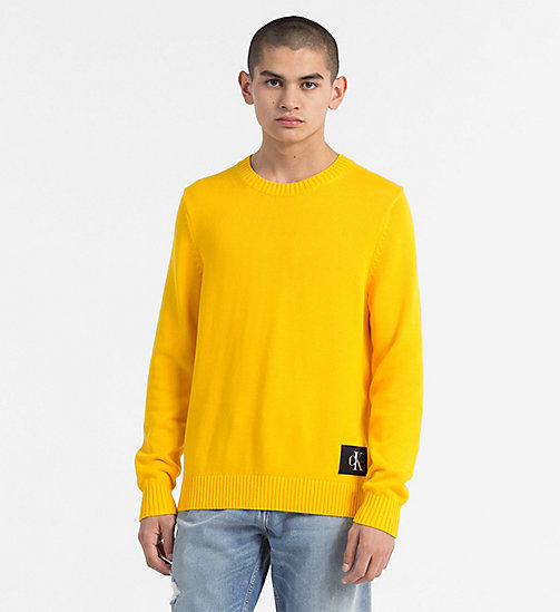 CALVIN KLEIN JEANS Regular Cotton Sweater - SPECTRA YELLOW - CALVIN KLEIN JEANS NEW IN - main image
