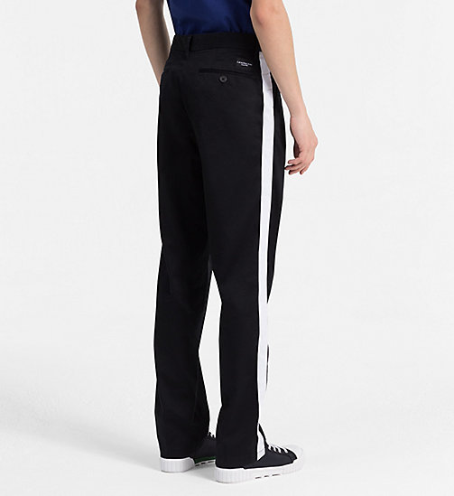 CALVIN KLEIN JEANS Straight Taped Chino Trousers - CK BLACK - CALVIN KLEIN JEANS #MYCALVINS MEN - detail image 1