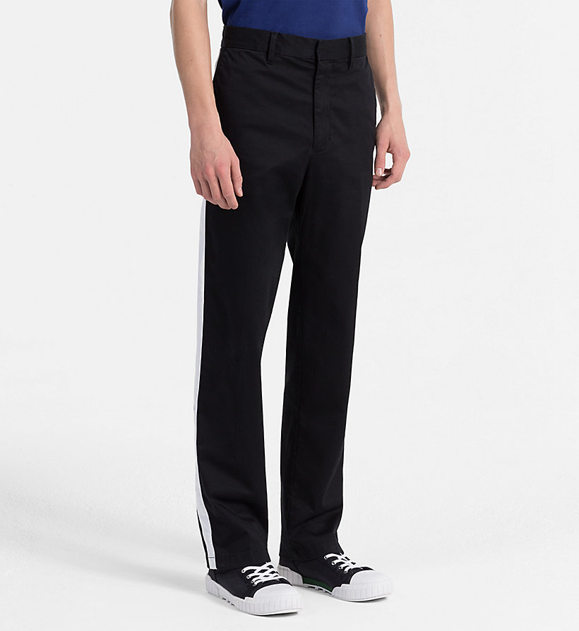 CALVIN KLEIN JEANS Straight Taped Chino Trousers - BRIGHT WHITE - CALVIN KLEIN JEANS MEN - main image