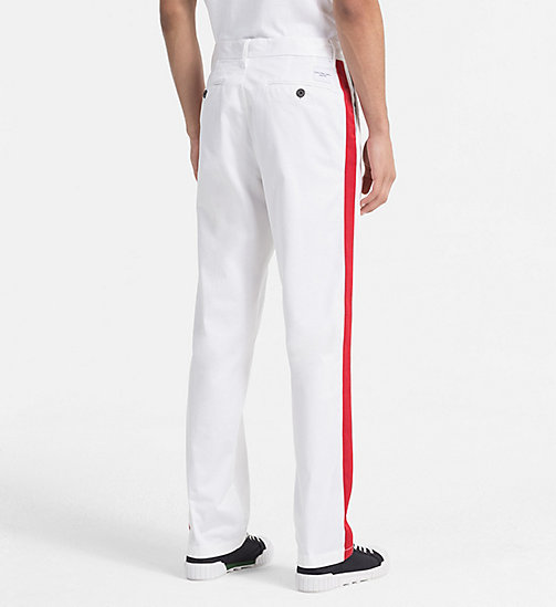 CALVIN KLEIN JEANS Straight Taped Chino Trousers - BRIGHT WHITE - CALVIN KLEIN JEANS #MYCALVINS MEN - detail image 1