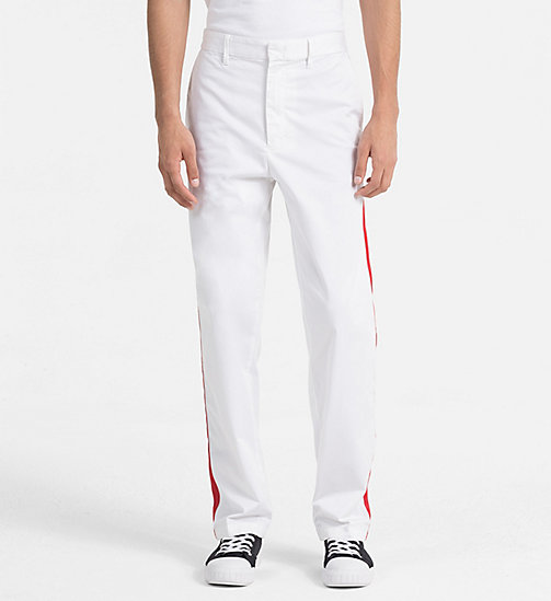 CALVIN KLEIN JEANS Straight Taped Chino Trousers - BRIGHT WHITE - CALVIN KLEIN JEANS #MYCALVINS MEN - main image
