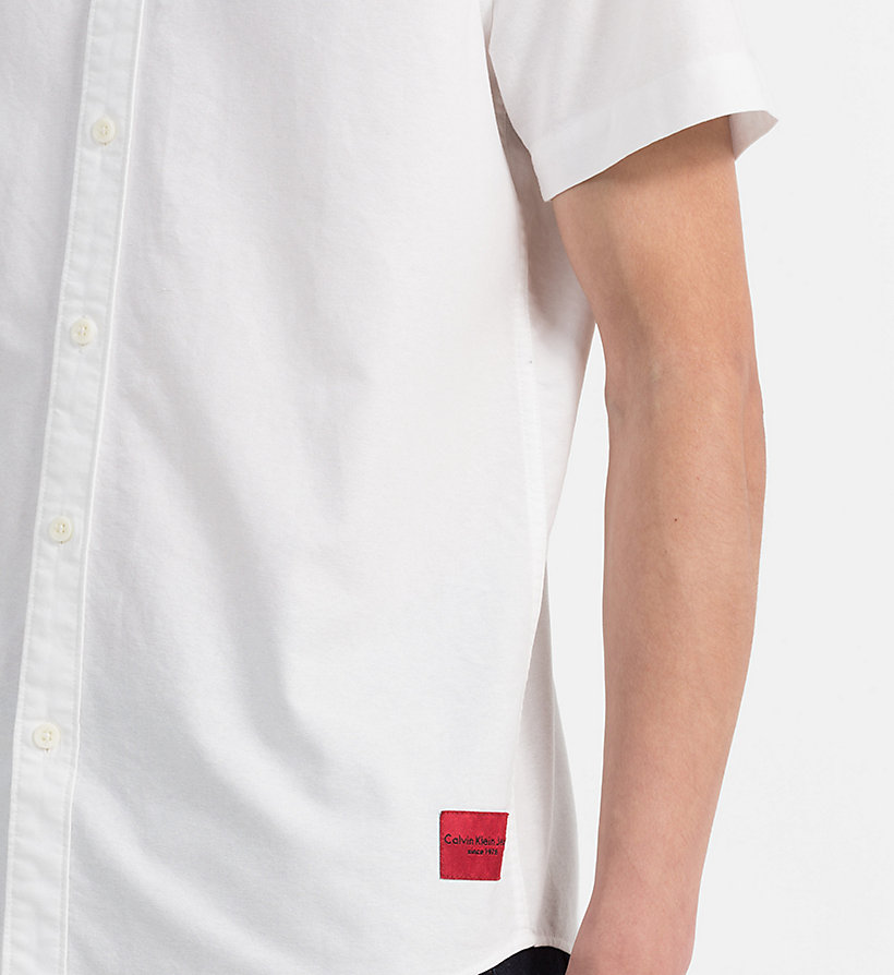 CALVIN KLEIN JEANS Slim Oxford Short-Sleeve Shirt - SPECTRA YELLOW - CALVIN KLEIN JEANS MEN - detail image 3