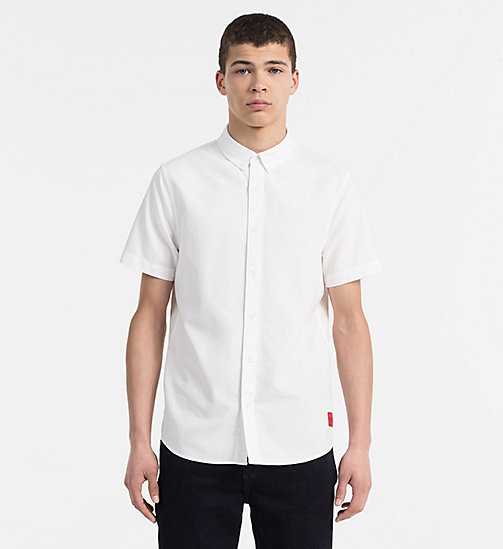 CALVIN KLEIN JEANS Slim Oxford Short-Sleeve Shirt - BRIGHT WHITE - CALVIN KLEIN JEANS CLOTHES - main image