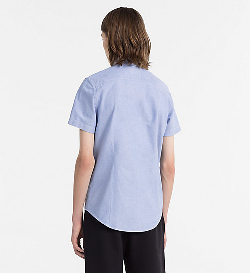 CALVIN KLEIN JEANS Slim Oxford Short-Sleeve Shirt - BALEINE BLUE - CALVIN KLEIN JEANS CLOTHES - detail image 1