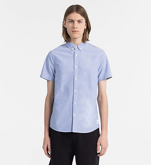 CALVIN KLEIN JEANS Slim Oxford Short-Sleeve Shirt - BALEINE BLUE - CALVIN KLEIN JEANS CLOTHES - main image