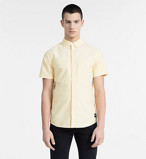 CALVIN KLEIN JEANS Slim Oxford Short-Sleeve Shirt - SPECTRA YELLOW - CALVIN KLEIN JEANS CLOTHES - main image