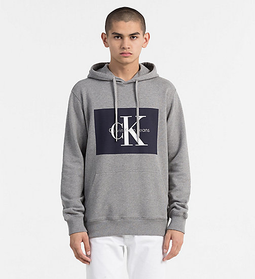 CALVIN KLEIN JEANS Logo Hoodie - LIGHT GREY HEATHER - CALVIN KLEIN JEANS LOGO SHOP - main image