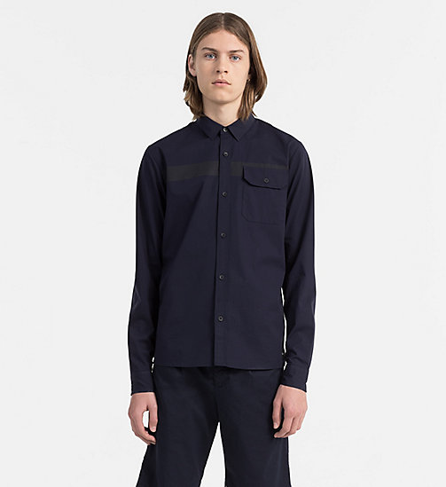 CALVIN KLEIN JEANS Slim Stretch Poplin Shirt - NIGHT SKY - CALVIN KLEIN JEANS CLOTHES - main image