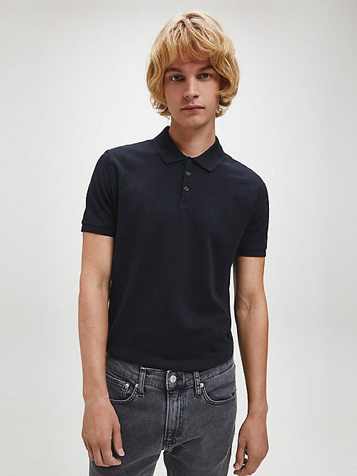 CALVINKLEIN Slim Cotton Piqué Polo - CK BLACK - CALVIN KLEIN JEANS NEW IN - main image