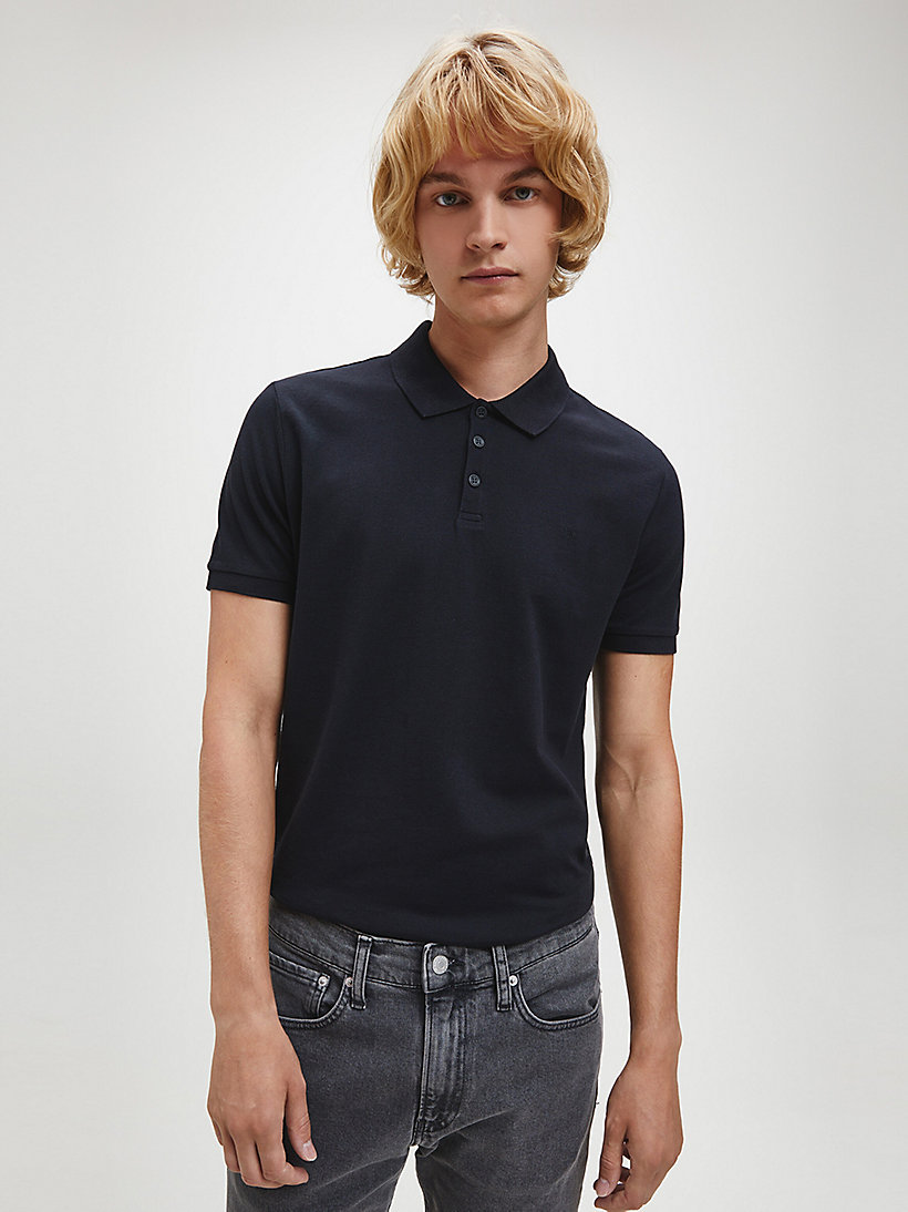 Slim Cotton Piqué Polo - BRIGHT WHITE - CALVIN KLEIN JEANS MEN - main image