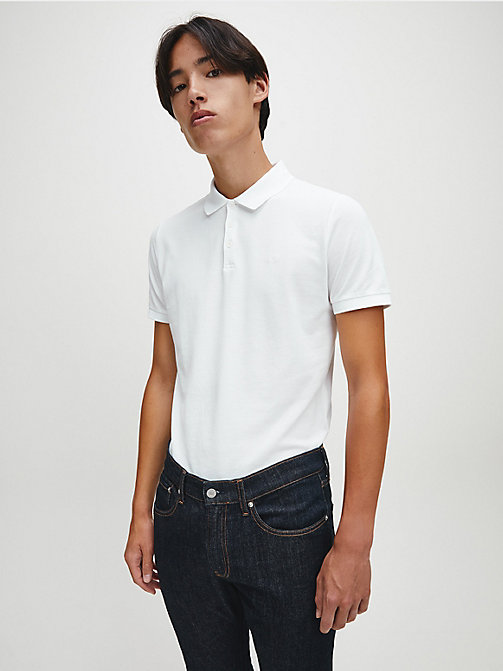 CALVINKLEIN Slim Cotton Piqué Polo - BRIGHT WHITE - CALVIN KLEIN JEANS NEW IN - main image