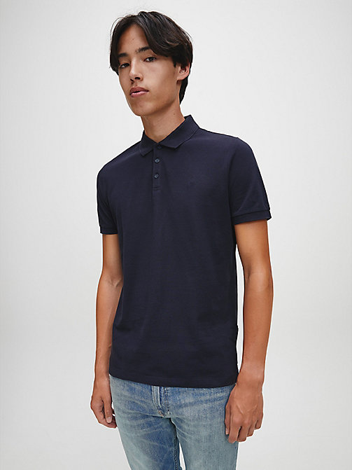 CALVINKLEIN Slim Cotton Piqué Polo - NIGHT SKY - CALVIN KLEIN JEANS NEW IN - main image