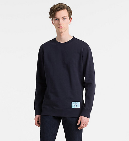 CALVIN KLEIN JEANS Cotton Terry Sweatshirt - NIGHT SKY - CALVIN KLEIN JEANS CLOTHES - main image