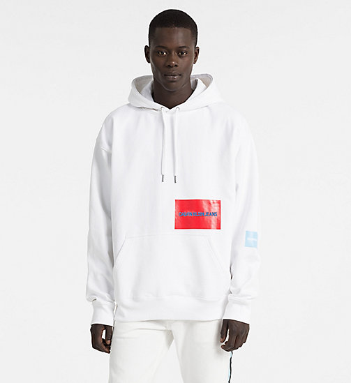 CALVIN KLEIN JEANS Oversized Multi Logo Hoodie - BRIGHT WHITE / SKY BLUE - CALVIN KLEIN JEANS NEW IN - main image
