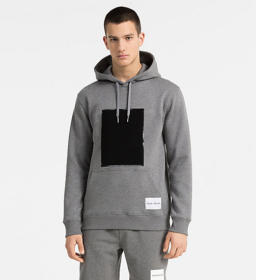CALVIN KLEIN JEANS Cotton Fleece Hoodie - GREY HEATHER - CALVIN KLEIN JEANS NEW IN - main image