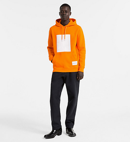 CALVIN KLEIN JEANS Cotton Fleece Hoodie - ORANGE TIGER 16-1358 TCX - CALVIN KLEIN JEANS NEW IN - detail image 1