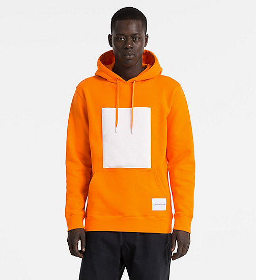 CALVIN KLEIN JEANS Cotton Fleece Hoodie - ORANGE TIGER 16-1358 TCX - CALVIN KLEIN JEANS NEW IN - main image