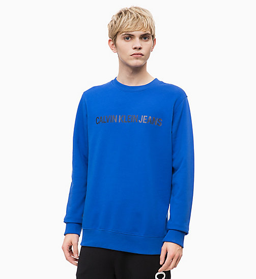 CALVIN KLEIN JEANS Logo Sweatshirt - SURF THE WEB/ BRIGHT WHITE - CALVIN KLEIN JEANS CLOTHES - main image