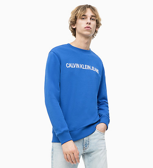 CALVIN KLEIN JEANS Logo Sweatshirt - SURF THE WEB/ BRIGHT WHITE - CALVIN KLEIN JEANS LOGO SHOP - main image