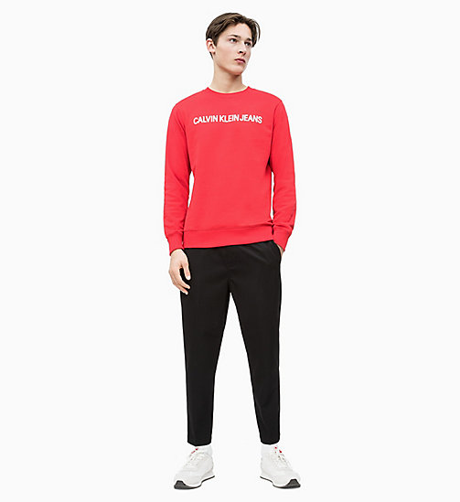 CALVIN KLEIN JEANS Sweat-shirt avec logo - RACING RED / BRIGHT WHITE - CALVIN KLEIN JEANS LOGO SHOP - image détaillée 1
