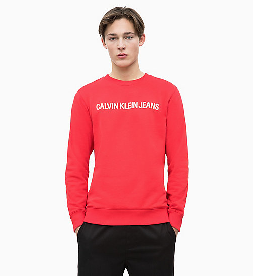 CALVIN KLEIN JEANS Sweat-shirt avec logo - RACING RED / BRIGHT WHITE - CALVIN KLEIN JEANS LOGO SHOP - image principale