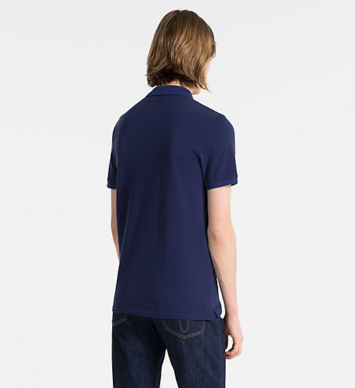 CALVIN KLEIN JEANS Slim Cotton Piqué Polo - BLUE DEPTHS - CALVIN KLEIN JEANS CLOTHES - detail image 1