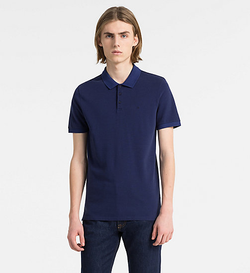 CALVIN KLEIN JEANS Slim Cotton Piqué Polo - BLUE DEPTHS - CALVIN KLEIN JEANS CLOTHES - main image