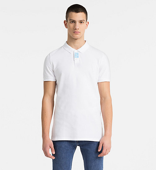 CALVIN KLEIN JEANS Slim Cotton Piqué Polo - BRIGHT WHITE - CALVIN KLEIN JEANS CLOTHES - main image