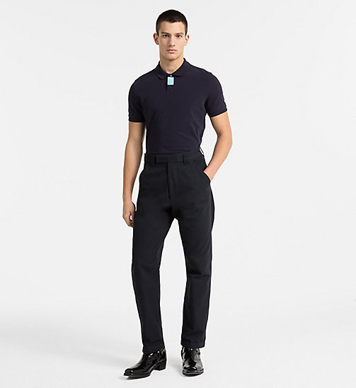 CALVIN KLEIN JEANS Slim Cotton Piqué Polo - NIGHT SKY - CALVIN KLEIN JEANS CLOTHES - detail image 1