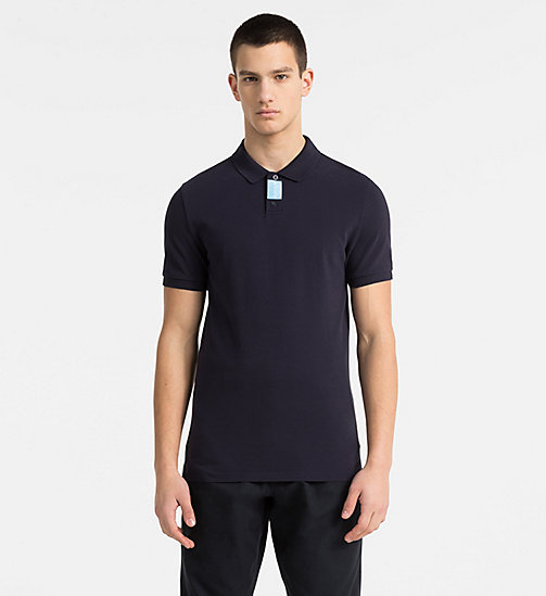 CALVIN KLEIN JEANS Slim Cotton Piqué Polo - NIGHT SKY - CALVIN KLEIN JEANS NEW IN - main image