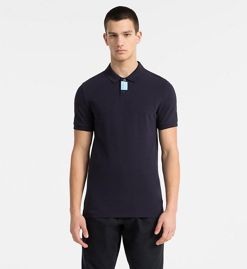 CALVIN KLEIN JEANS Slim Cotton Piqué Polo - CK BLACK - CALVIN KLEIN JEANS MEN - main image