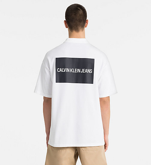 CALVIN KLEIN JEANS Oversized Cotton Piqué Polo - BRIGHT WHITE / CK BLACK - CALVIN KLEIN JEANS CLOTHES - detail image 1