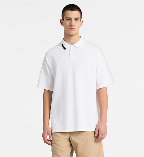 CALVIN KLEIN JEANS Oversized Cotton Piqué Polo - BRIGHT WHITE / CK BLACK - CALVIN KLEIN JEANS NEW IN - main image